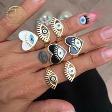 2020月新ブラックホワイトドリッププロセス調節可能な邪眼ハート形の金の指輪女性ヴィンテージリングセットジュエリー