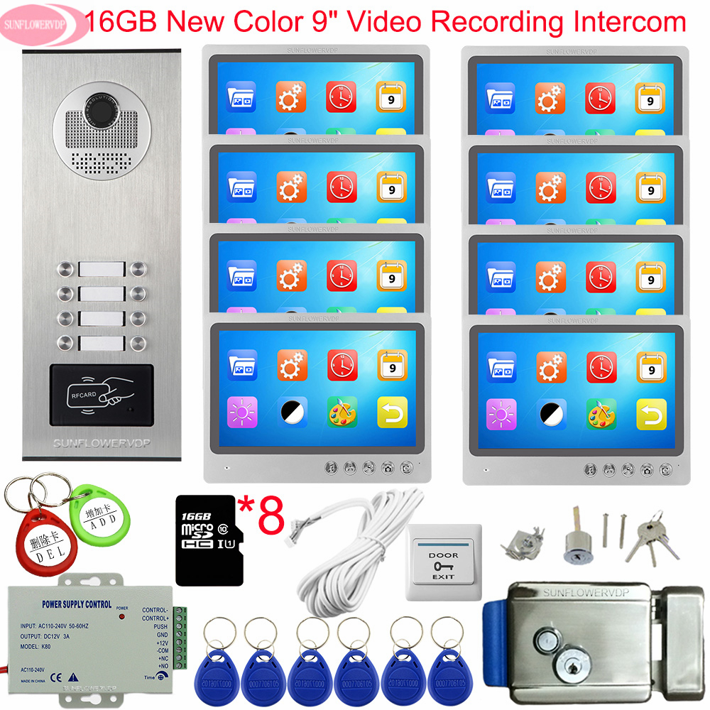 9inch Color Video Intercom With Recording+16GB TF Card Intercoms For A Private House With A Lock Doorbell With Camera And Screen