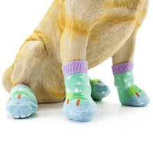 4pcs Pet Dog Knit Socks Christmas Pattern Printed Non-slip Cotton Socks Paws Cover Warm Shoes S M L XL(China)