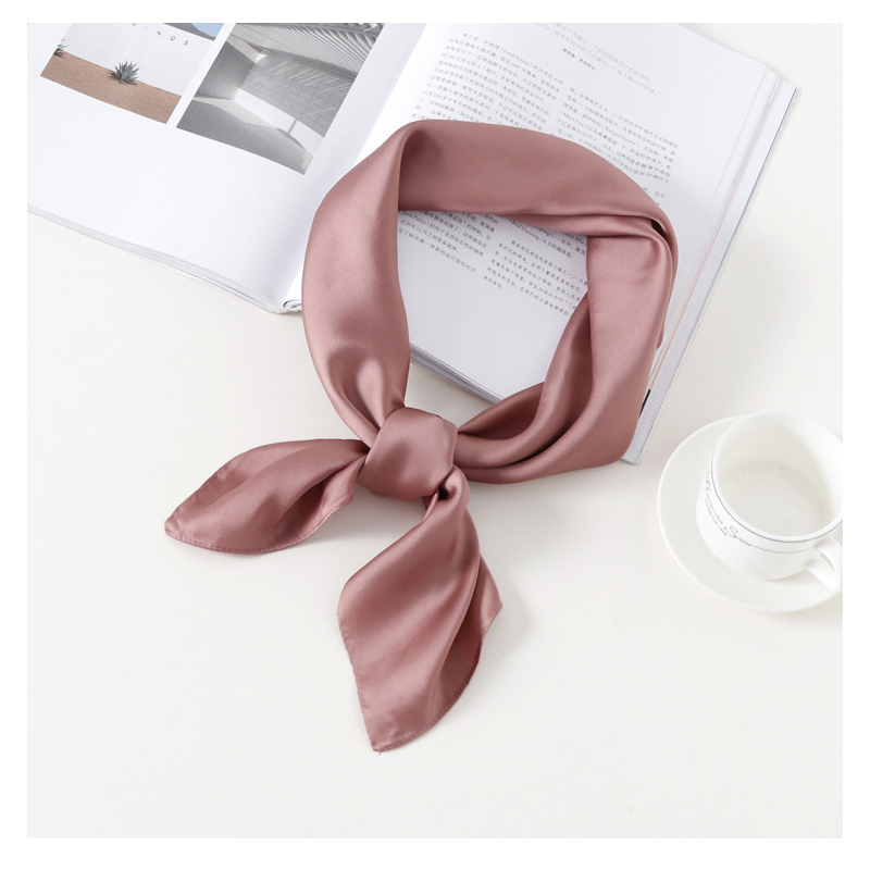 Fashion Plain Kerchief Silk Satin Hair Scarf For Women Small Neck Scarfs 70*70cm Square Headband Bandana Head Scarves For Ladies