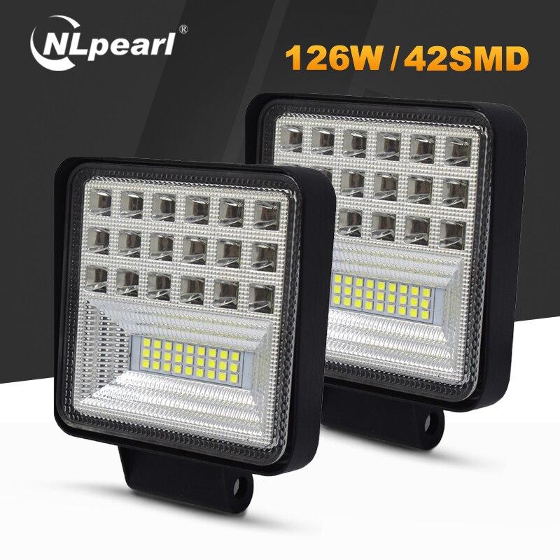 Nlpearl 4'' Light Bar/Work Light 72W 126W Led Work Lights for Off-road Tractors SUV Trucks Spot LED Light Bar Fog Lamp 12V 24V