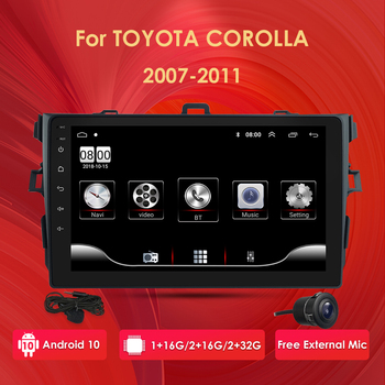 2Din android 10 Car Radio Multimedia Player For Toyota Corolla 2007 2008 2009 2010 2011 2 din automotivo CAM-IN DVR SWC USB WIFI image