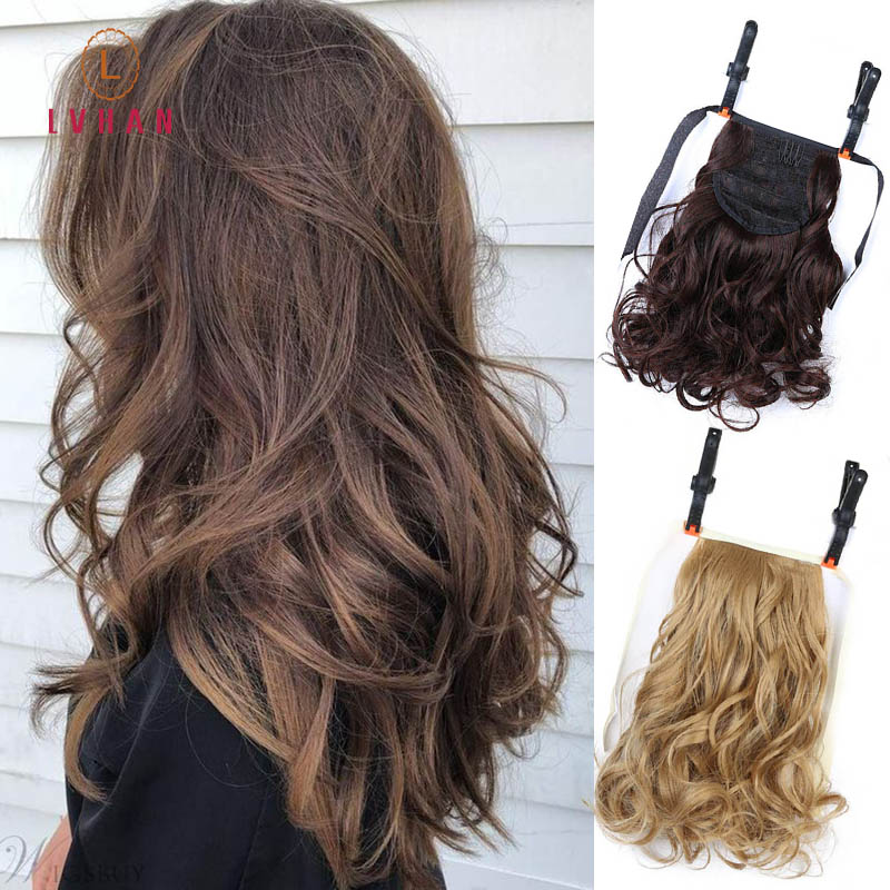 LVHAN Short Clip In Drawstring Curly Ponytail Hair Pieces Heat Resistant Synthetic Hair Tail Horse Tress Short Hair Tails