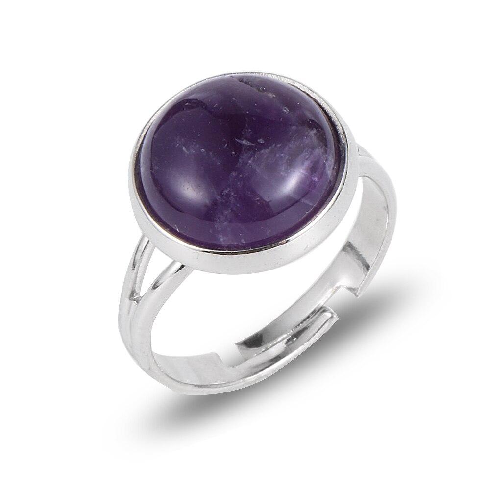 Boêmio natural gem pedra anel para mulheres meninas moda festa de casamento roxo rosa cristal aberto dedo ajustável senhoras anéis