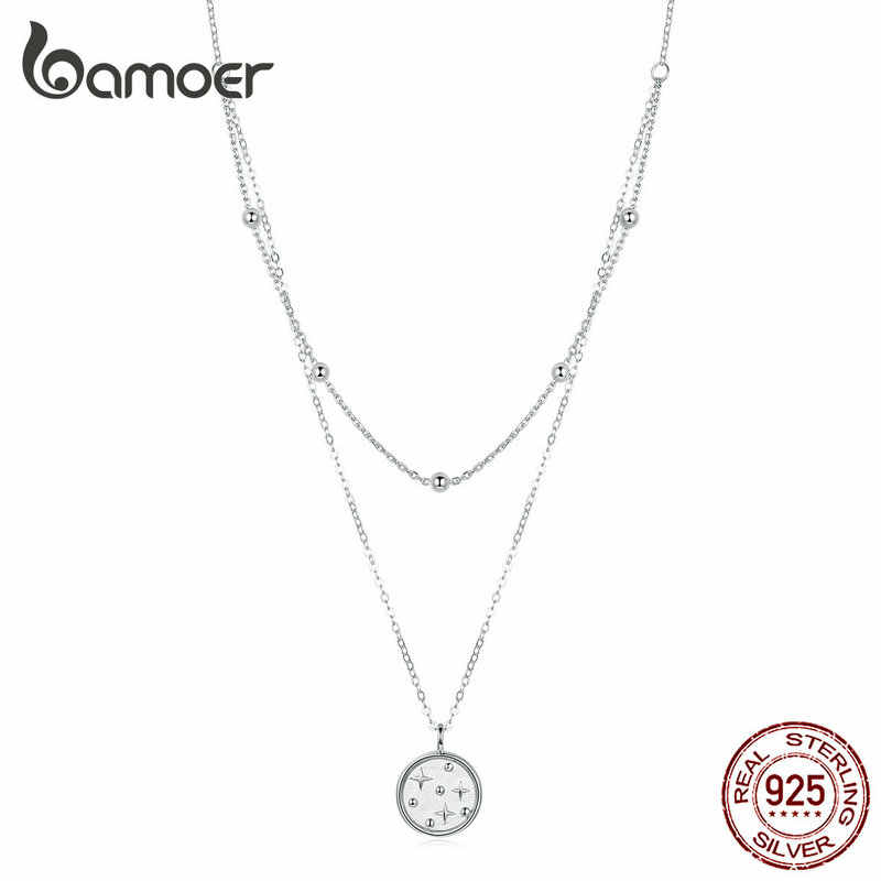 bamoer Double Layer Coin Necklace for Women Genuine 925 Sterling Silver Bead Chain Star Necklaces Female Fine Jewelry SCN365