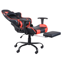 T Type Reclining Chair Racing Gaming Chair Adjustable 360 Degree Swivel Office Chair With Footrest Tier Black & Red