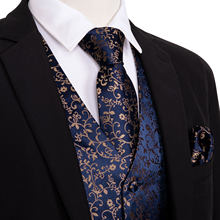 4PC Mens Extra Silk Vest Party Wedding Gold Paisley Floral Jacquard Waistcoat Vest Pocket Square Tie Suit Set Barry.Wang(China)