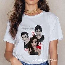 Летняя футболка с дневниками вампира футболки для девочек Повседневная