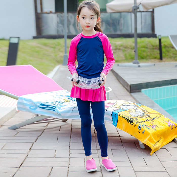 2017 Long Sleeve Through Y Bathing Suit KID'S Swimwear Foreign Trade Athletic With Swim Cap A Key On Behalf