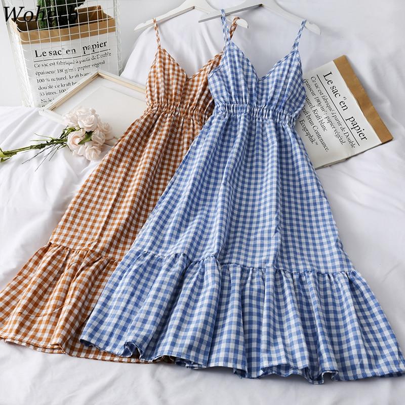 Woherb Sweet Plaid Dress Women Sexy Spaghetti Strap Vintage Dresses Female Korean Chic Fashion Sleeveless Casual Summer Vestidos 1