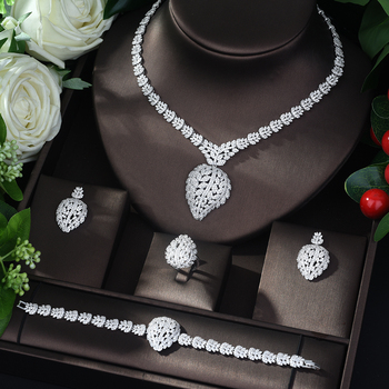 HIBRIDE 2019 New Design Geometric Shape Jewelry Set for Women Fashion Cubic Zirconia 4pc Set Jewelry Party Style bijoux N-555