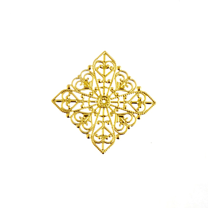 Free Shipping Retail 5Pcs Gold Tone Filigree Square Wraps Connectors Metal Crafts Gift Decoration DIY Findings 40x40mm F0413