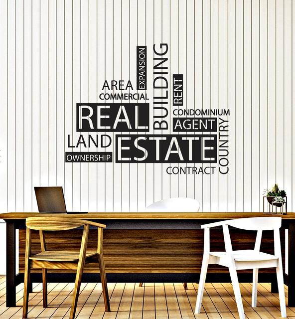 Wall Decal Vinyl Real Estate Agency Word Agent Realtor Office Quote Lettering Decor Sticker Mural Creative Interior Decal LC1494