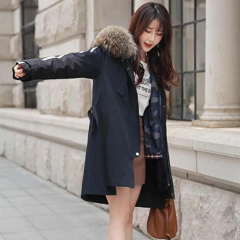 Rex Rabbit Raccoon Collar Winter Coat Real Fur Parka For Women Clothes 2020 FXY9001 YY948