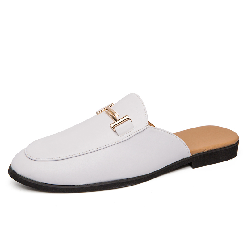 YEINSHAARS Designer Slipon Men Casual Shoes Luxury Brand High Quality Genuine Leather Slipper Loafers Summer Half Shoes For Men