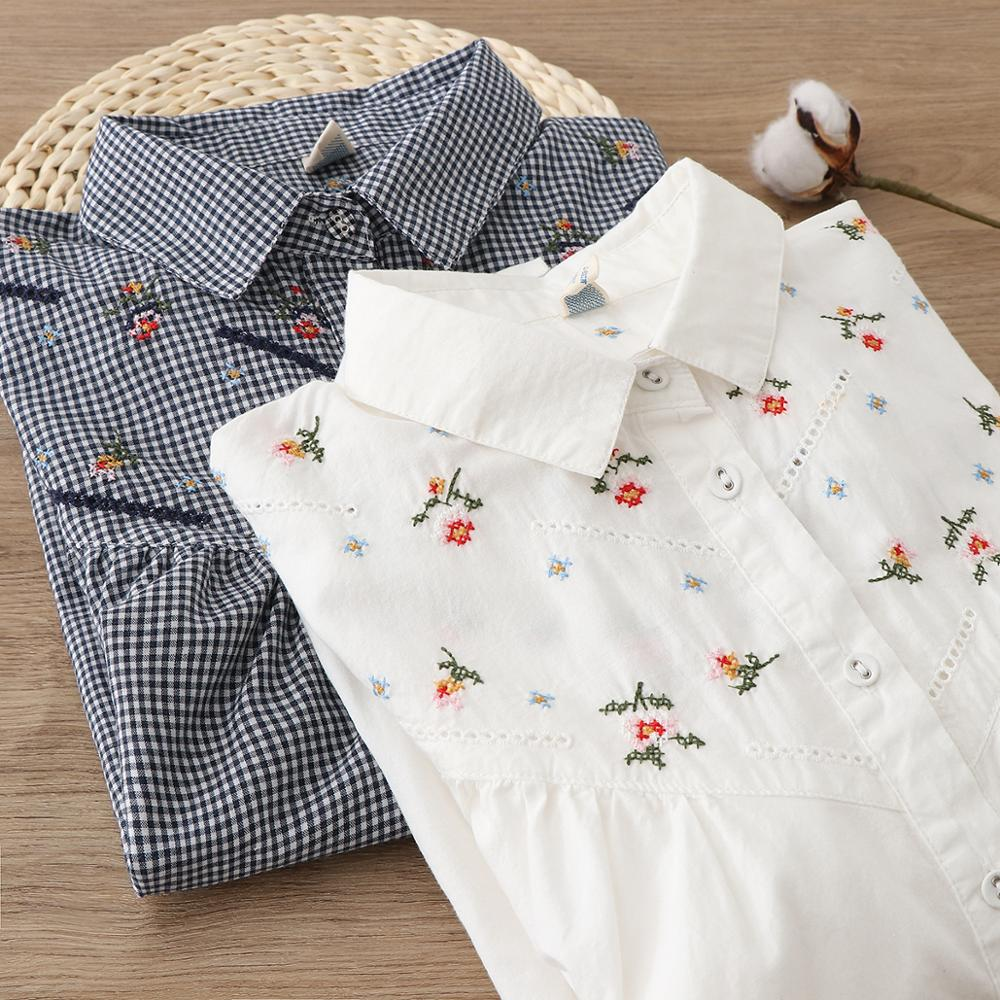 Flowers Embroidery  Plaid White Cotton Long Sleeve Shirt Blouse Mori Girl