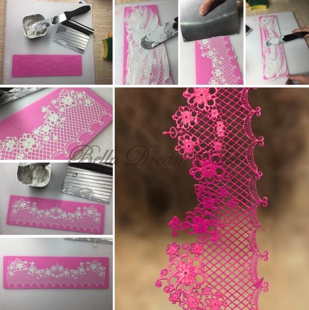 силиконовый кружевной коврик в форме цветка кондитерская рамка фотография