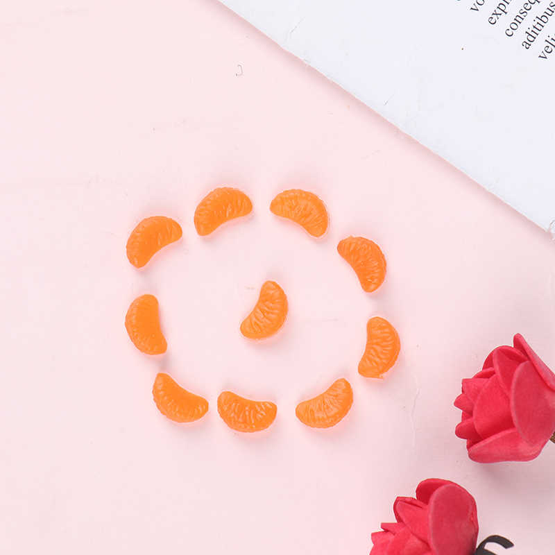 10PCS Mini Orange Petals Resin Plasticine Slime Beads Accessories Making Supplies For DIY Craft Simulation food Slime Charms