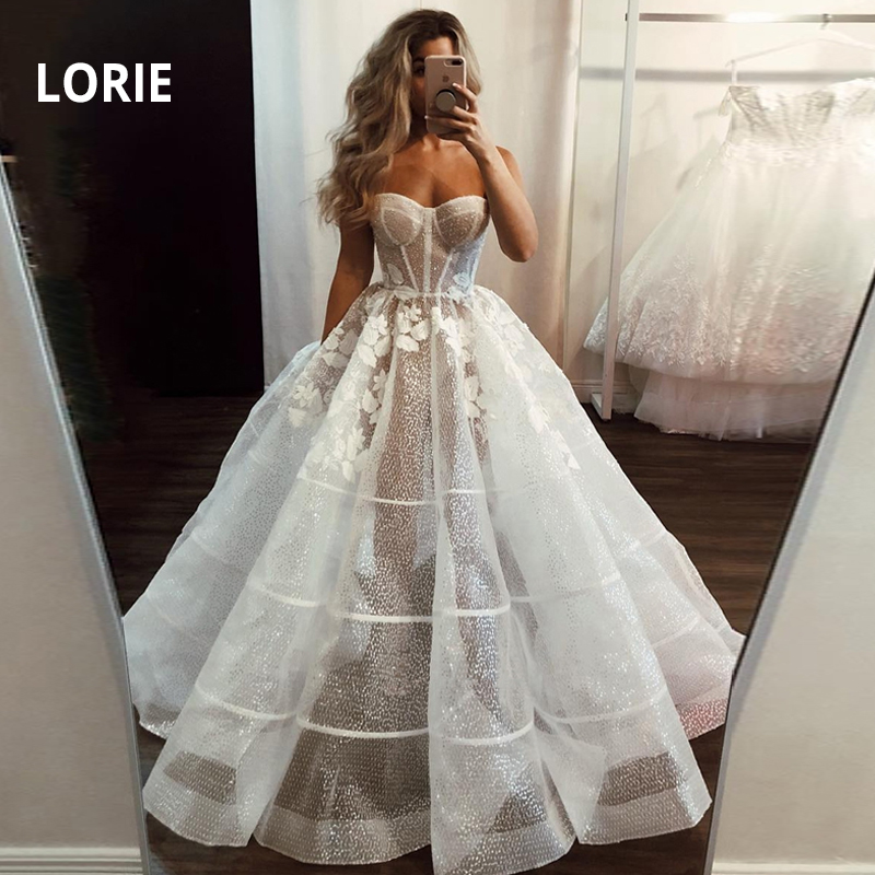 LORIE Lace Princess Wedding Dress 2019 Shiny Tulle Prom Party Bridal Gown Ball Gown Backless Vestido De Noiva Arabic Mariee