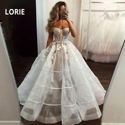 LORIE Lace Princess Wedding Dress 2020 shiny Tulle Prom Party Bridal Gown Ball Gown Backless vestido de noiva Arabic mariee