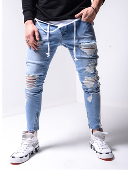 Men Jeans New Fashion Slim Denim Pencil Pants Hip Hop Motorbike Ripped Sexy Casual Hole Ripped Design Motorcycle jeans ripped denim grab bag