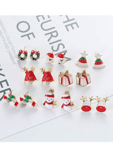 Christmas-Earring Ornaments Happy Home New-Year Pendant