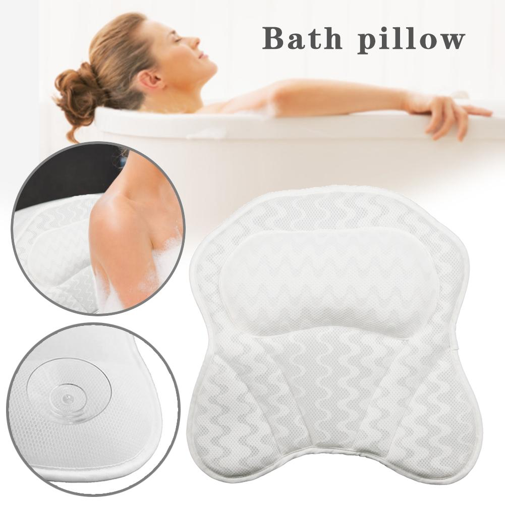 Bath Pillow Bathtub Cushion For Neck, Head, Shoulder And Back Support Hot Headrest And Bath Tub Pillow Rest Luxury Spa Comfort