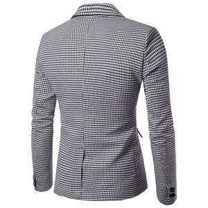 Image 2 - Shenrun Men Fashion Houndstooth Jacket Casual Blazer Notch Lapel Single Breasted 2 Buttons Suit Jackets Business Party Blazers