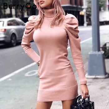 BerryGo черепаха шеи облегающее зимнее вязаное женское платье пышное плечо Розовое женское платье-свитер сексуальные женские однотонные осен...