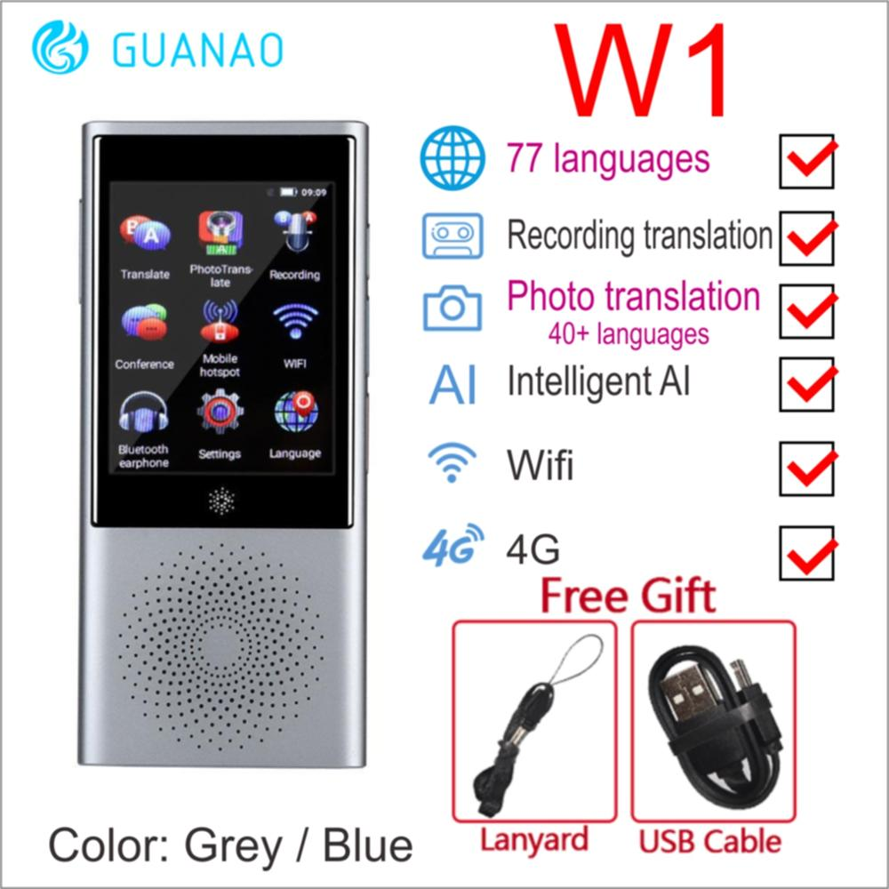 "Boeleo W1 AI Simultaneous Voice Translator 4G Network Multi language Portable Smart Voice Translator 2.8"" Touch Screen 8G Memory-in Translator from Consumer Electronics"