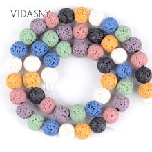 Natural Mineral Gem A+ Multicolor Lava Stone Beads For Jewelry Making 6 8 10 12mm Round Spacer Diy Bracelet Necklace 15