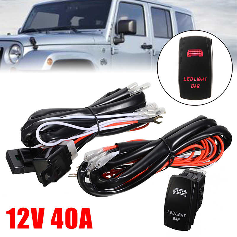 [TBQL_4184]  Universal 1pc 12V 40A 500W LED Light Bar Wiring Harness Rocker Switch Kits  Relay Working Lamp Group Accessories| | - AliExpress | Led Light Bar Wiring Harness And Switch Kit |  | AliExpress