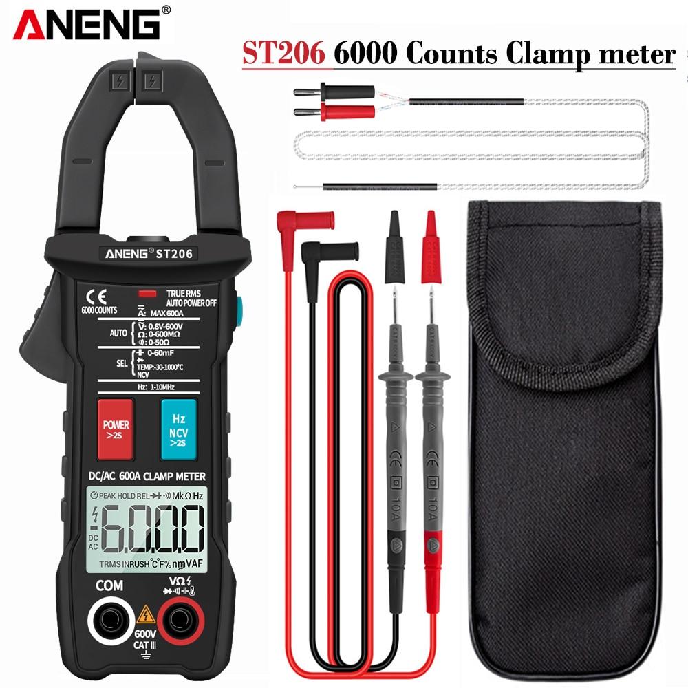 ANENG ST206 6000 Counts True RMS Amp DC AC Current Clamp Measure  Amperimetro Tester Voltmeter Digital Multimeter Clamp Meter