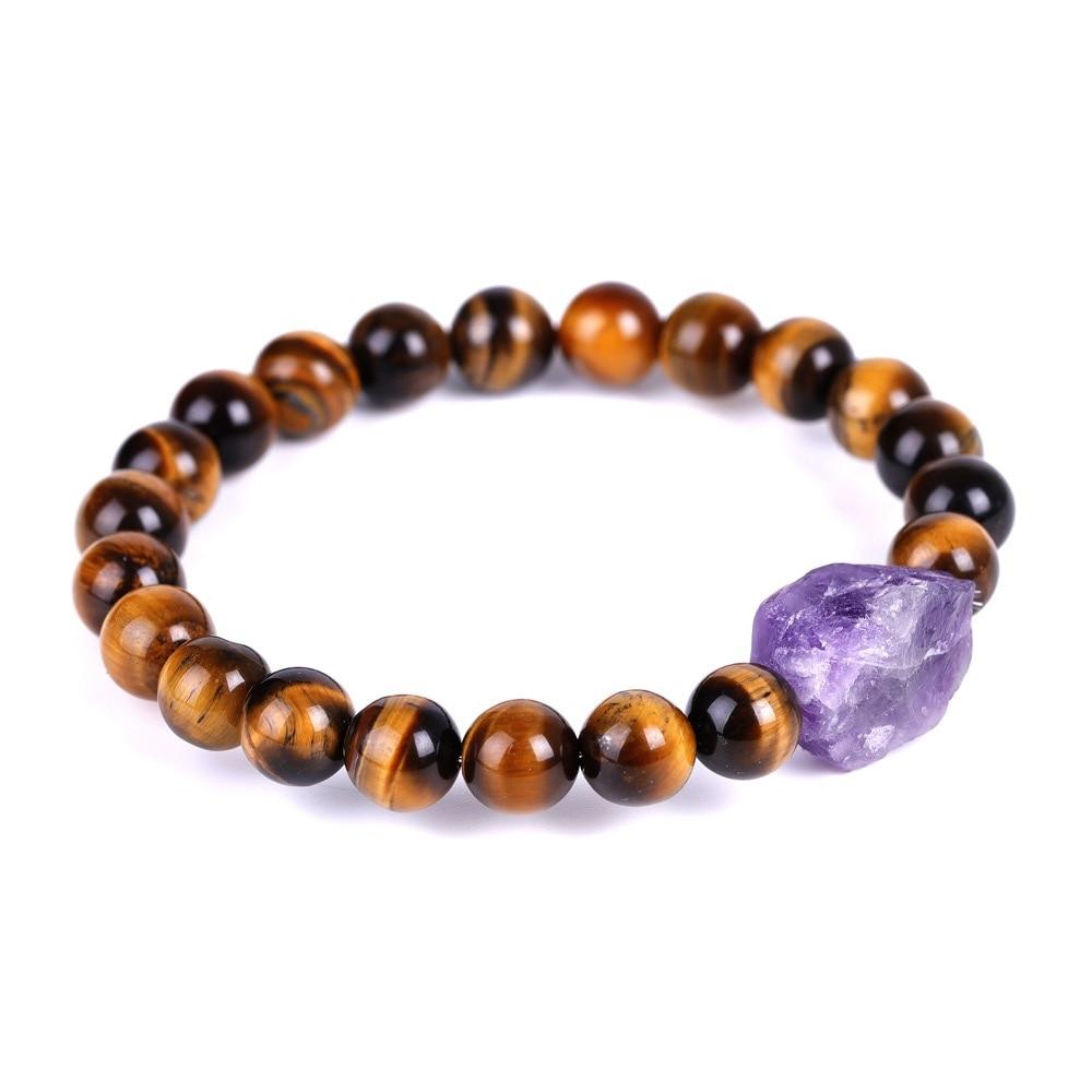 Retro Vintage Reiki Healing Beaded Strand Bracelets Energy Black Lava Stone Raw Mineral Quartz Charm Natural Amethysts Bracelets