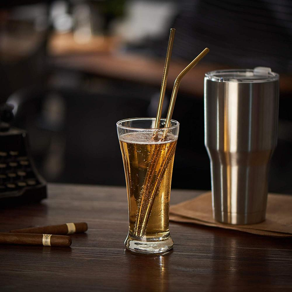 4/8Pcs Reusable Straw Made Of 304 Stainless Steel Metal Straw with Cleaner Brush and Bag
