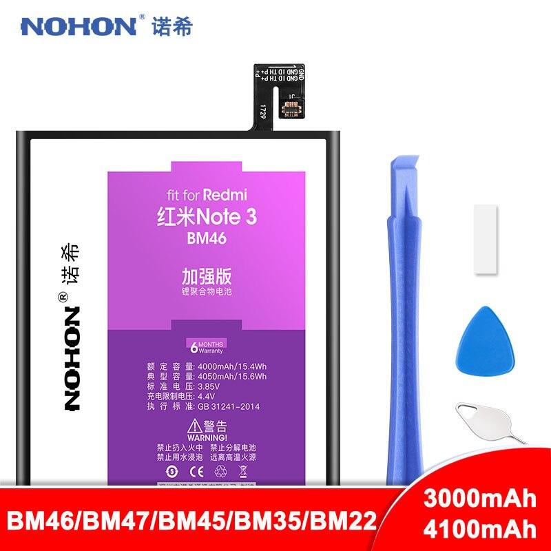 NOHON BM46 BM47 BM45 BM35 BM22 5 4C Bateria Para Xiao mi mi mi Vermelho Nota 2 3 Hong mi 3 3S 4X 3X Bateria Bateria De Lítio De Substituição