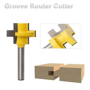 """Image 1 - 2 sztuk 1/4 """"8mm zestaw do cięcia frezu Shank Tongue & Groove zestaw bitów rozwiertaków 3 zęby t kształt akcesoria do drewna narzędzia do obróbki drewna"""