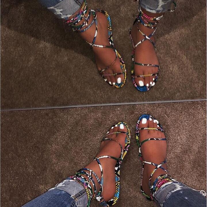 Ladies Sandals Women Slippers Snake Flat-Bottom Sexy Summer New-Fashion Free Send