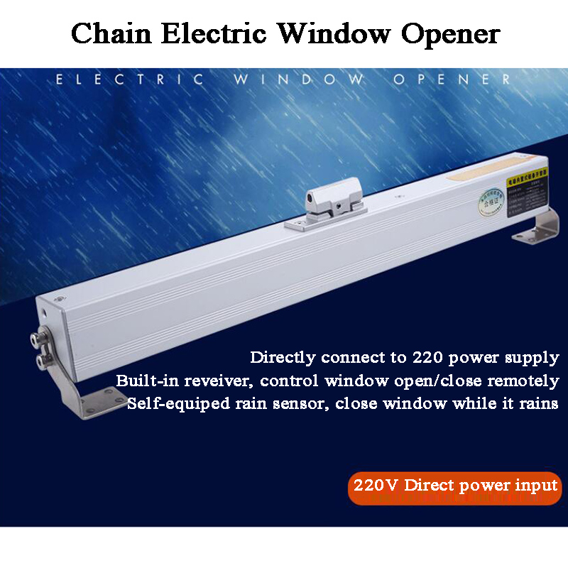 220V Electric Window Opener Motor Chain Rain-sensor Automatic Close Wireless Remote Control Home/Skylight/basement/Greenhouse