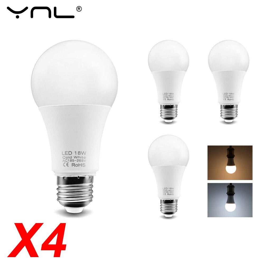 4pcs/Lot Ampoule E27 LED Lamp Light Bulb 220V 240V 3W 6W 9W 12W 15W 18W Lampada LED Bulb Cold Warm White High Brightness Lamp