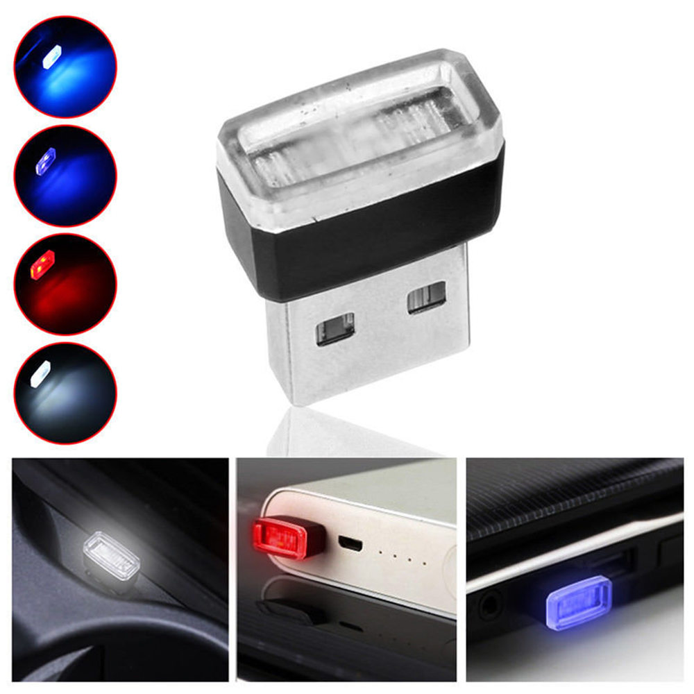 Car USB LED Atmosphere Night Lights Decorative Lamp Emergency Lighting Universal PC Portable Plug And Play Red/Blue/White/Purple