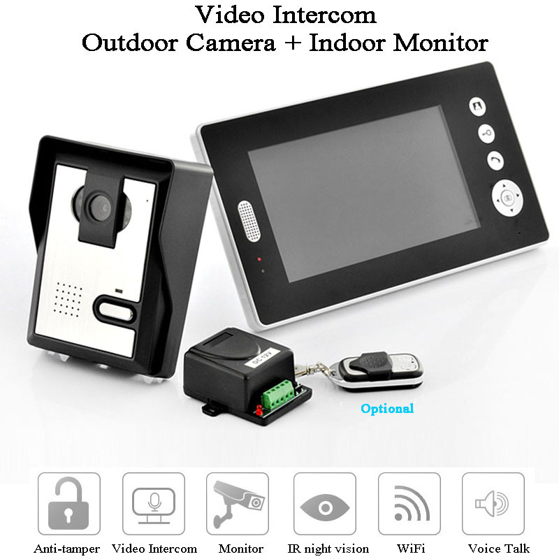 Smart  Video Door Phone 7 Inch Monitor 2.4GHz HD Camera Waterproof Video Intercom Voice Talk Photograph Doorbell Gate Opener