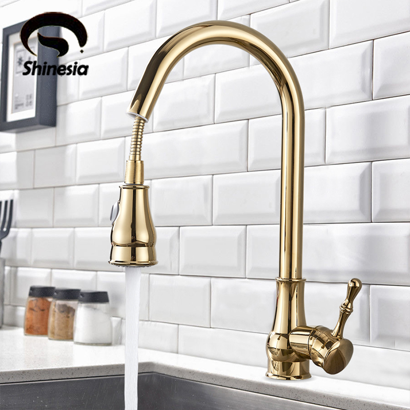 kitchen faucet brass black bronze chrome nickel brushed gold high arch kitchen sink faucet pull out rotation spray mixer tap