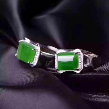 Man Ring Real and Natural Original Man Jade Ring Stone Rings Solid 925 Silver Gemstone Ring