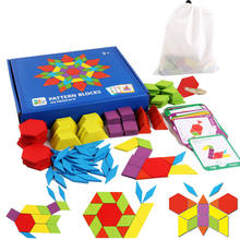155pcs Wooden Pattern Block Set Creative Kids Educational Toys Montessori Developmental brain teaser jigsaw Toy