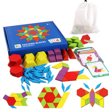 pattern blocks or Tangram blocks. 155 pieces in about 6 colours. drawstring carry bag and image cards included. some completed patterns are shown.
