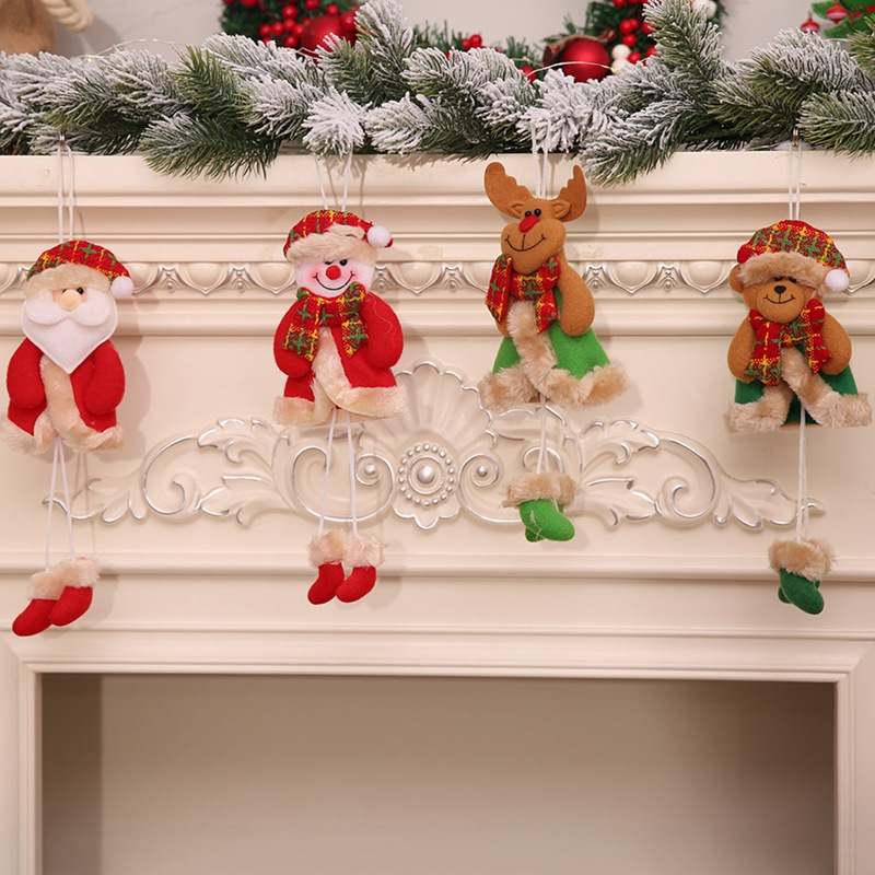 Christmas Decorations Xmas Tree Doll Pendant Santa Snowman Elk Bear Pendant Decorations For Home New Year Xmas Party Decor