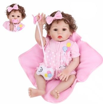 Cute Bebe Reborn 43CM  lifelike girl reborn Full Silicone body Baby Dolls toys gift can bathe
