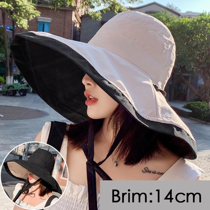 2020 New Women Summer Super Large Wide Brim Beach Hats Double-Sided Foldable Anti-UV Sun Hat Panama Female Sunscreen Cap Bonnet