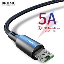Brhmc Micro Usb Kabel 5A Snel Opladen Voor Samsung J7 Redmi Note 5 Pro Android Mobiele Telefoon Usb Micro Kabel charger Data Cord(China)